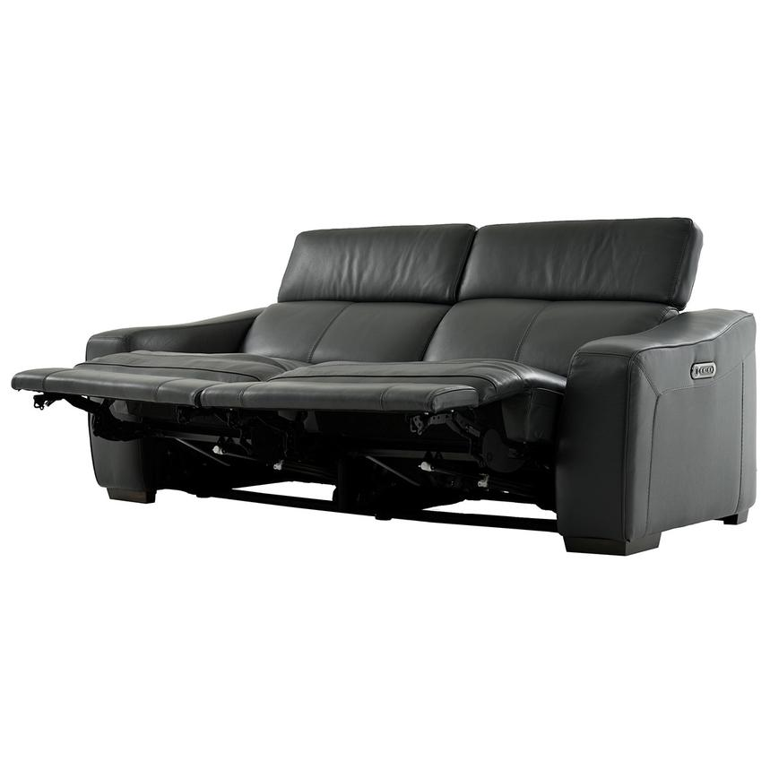 Jay Dark Gray Leather Power Reclining Sofa  alternate image, 3 of 7 images.