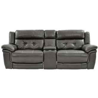 Stallion Gray Leather Power Reclining Sofa w/Console
