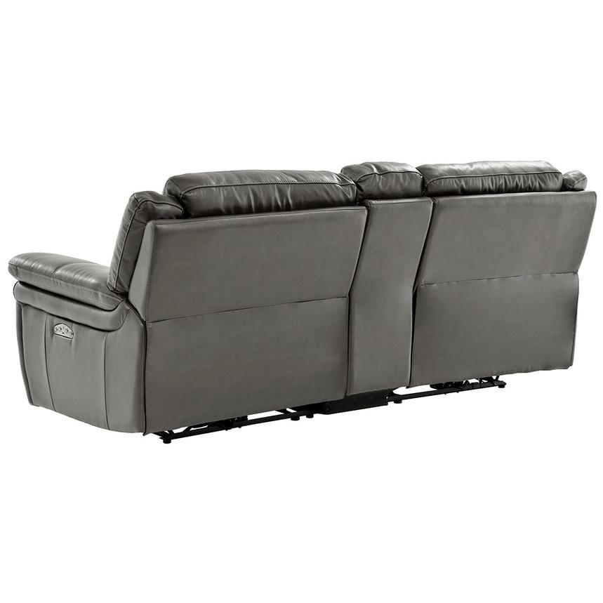 Stallion Gray Leather Power Reclining Sofa w/Console  alternate image, 4 of 10 images.