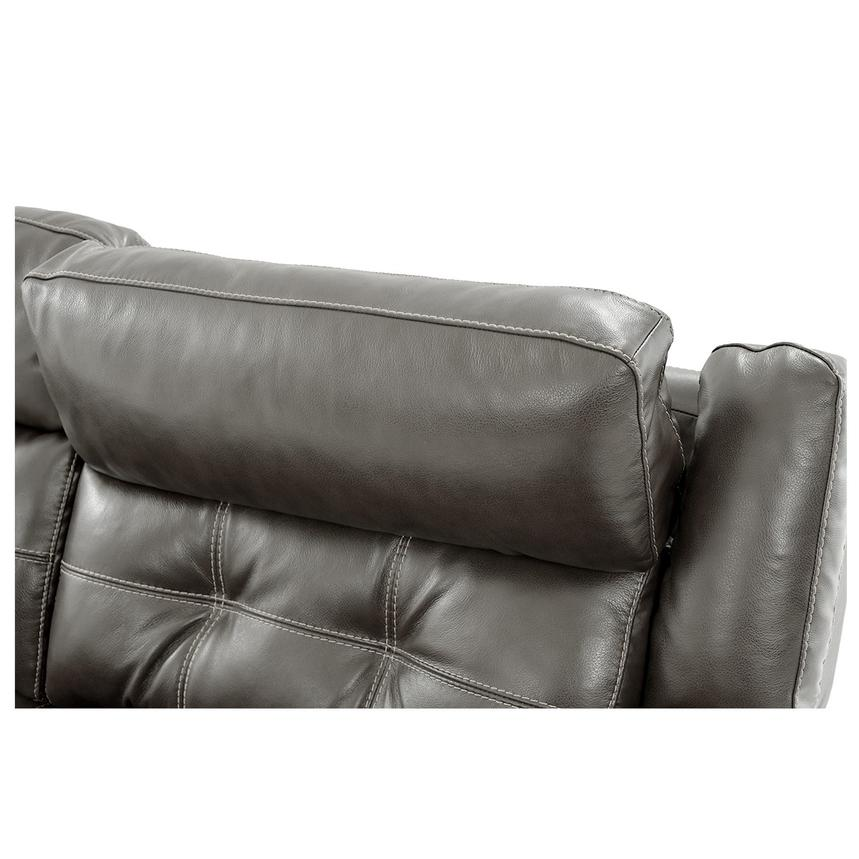 Stallion Gray Leather Sofa w/Console  alternate image, 8 of 9 images.