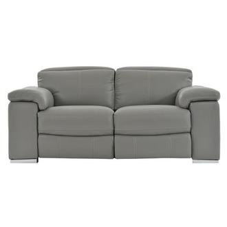Charlie Gray Power Motion Leather Loveseat