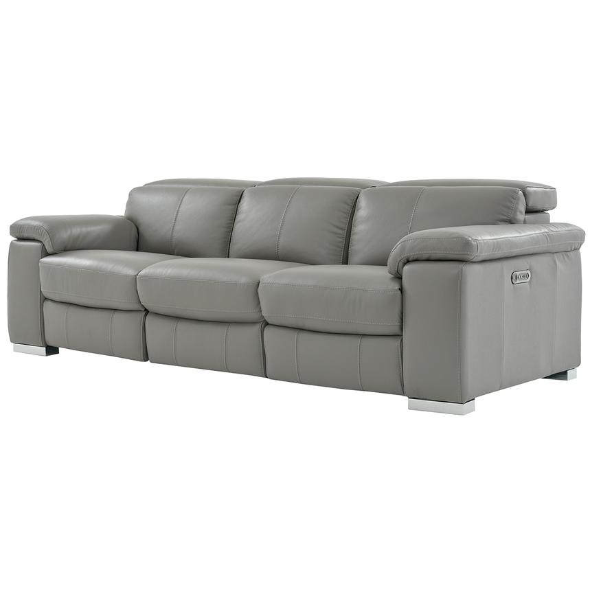 Charlie Gray Leather Power Reclining Sofa  alternate image, 3 of 9 images.
