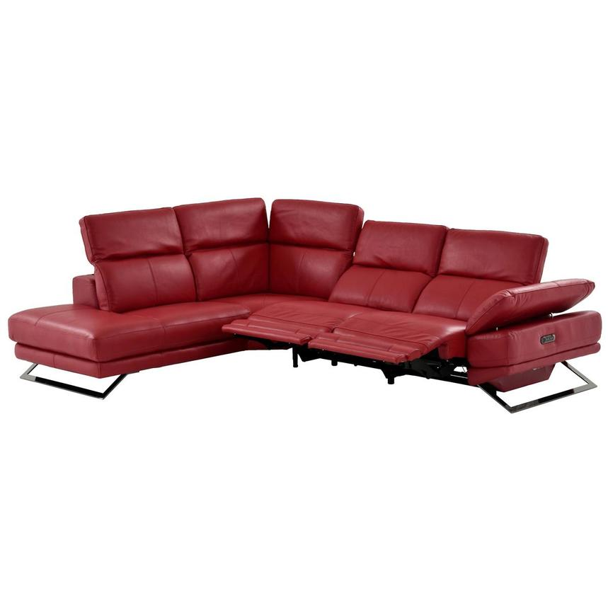 Toronto Red Leather Power Reclining Sofa w/Left Chaise  alternate image, 4 of 13 images.