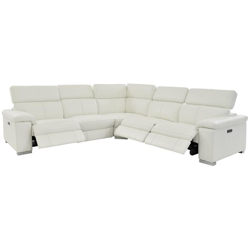 Charlie White Leather Power Reclining Sectional  alternate image, 4 of 11 images.