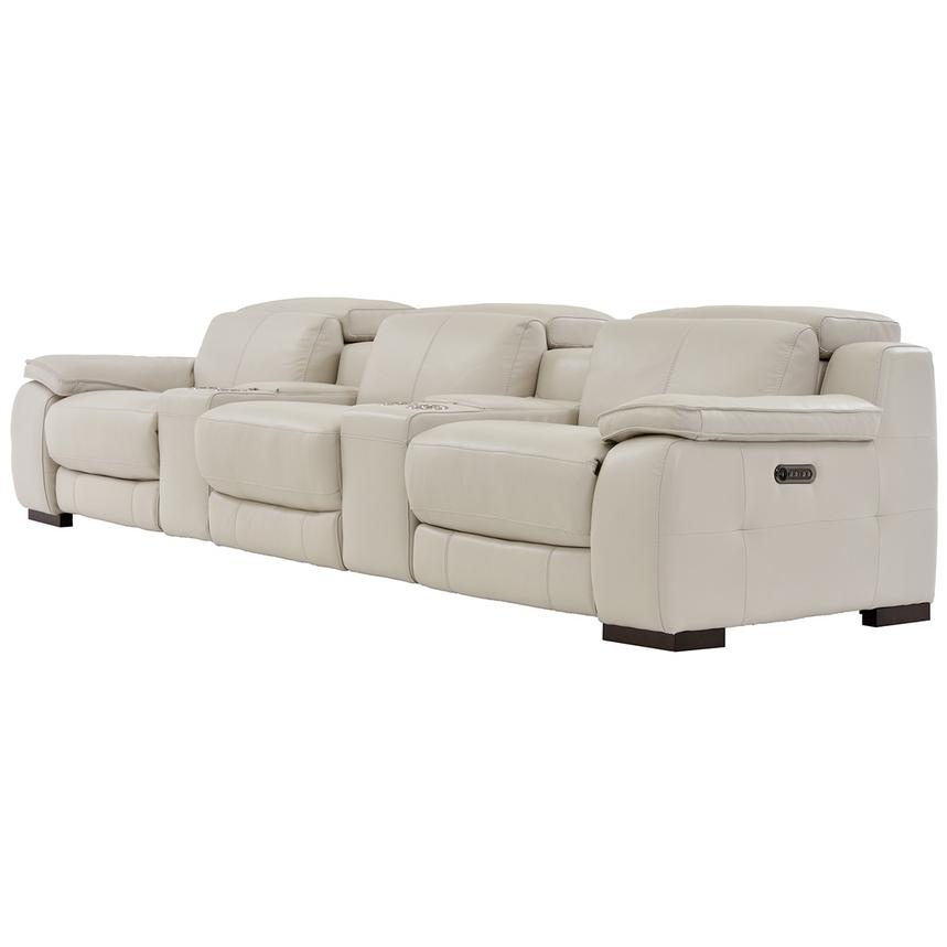 Gian Marco Cream Home Theater Leather Seating  alternate image, 3 of 10 images.