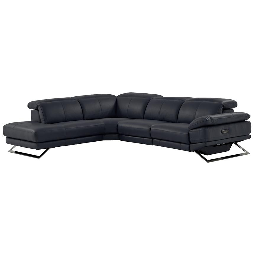 Toronto Dark Gray Power Motion Leather Sofa w/Left Chaise  main image, 1 of 9 images.