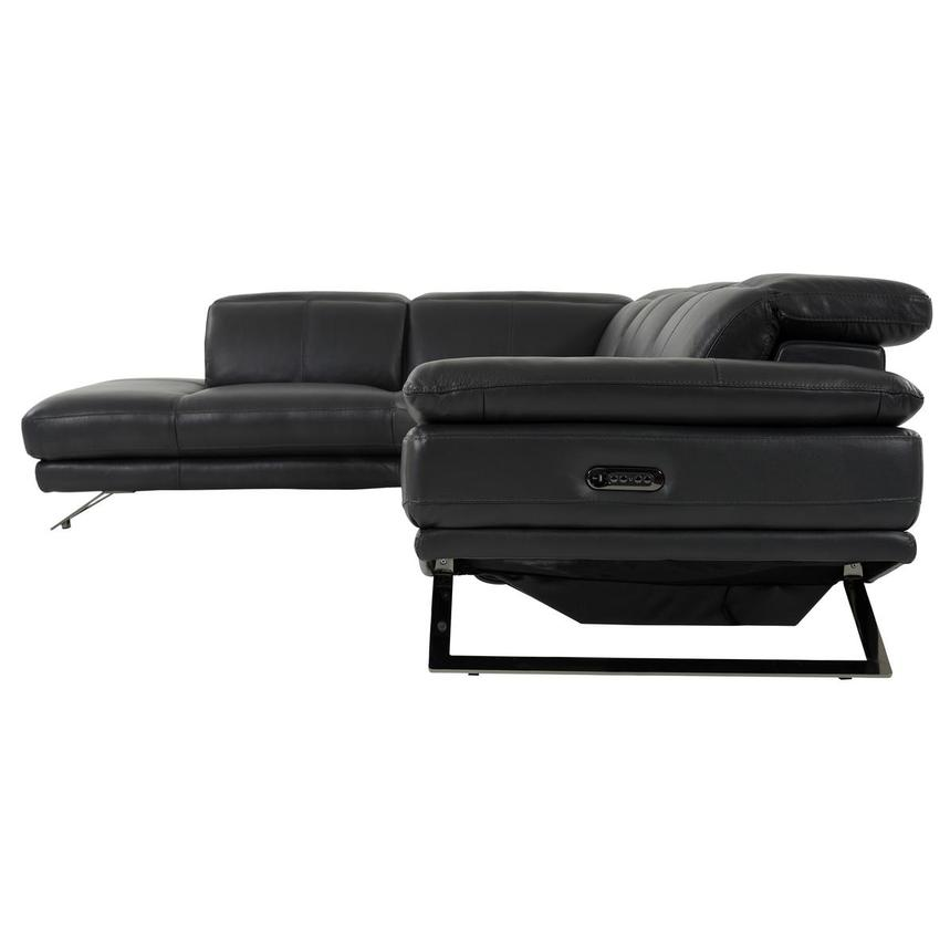 Toronto Dark Gray Leather Power Reclining Sofa w/Left Chaise  alternate image, 3 of 10 images.