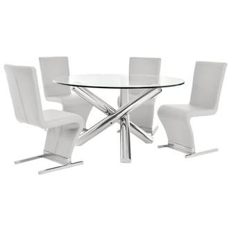 Star/Zoey White 5-Piece Formal Dining Set