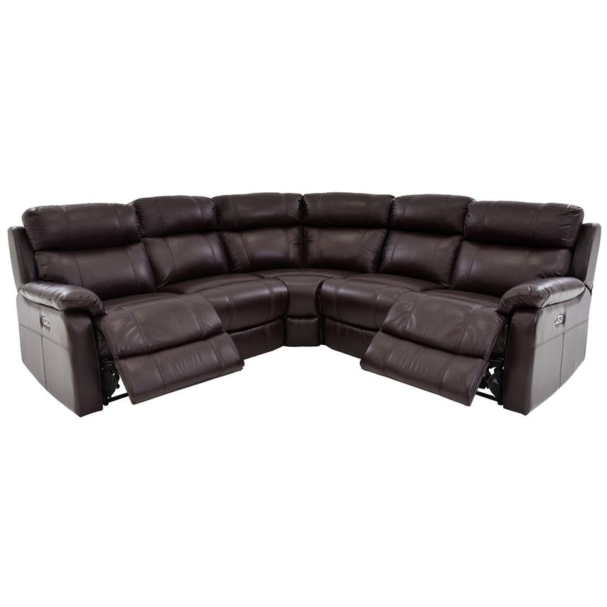 Ronald 2.0 Brown Leather Power Reclining Sectional  alternate image, 2 of 6 images.