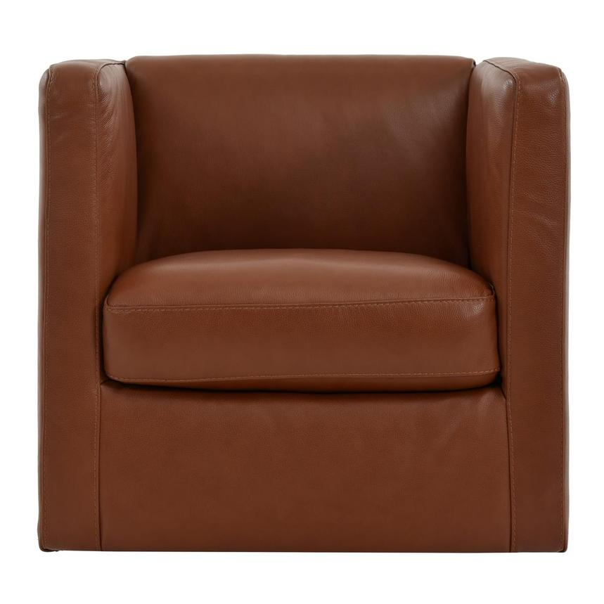 Cute Brown Leather Swivel Chair  main image, 1 of 6 images.