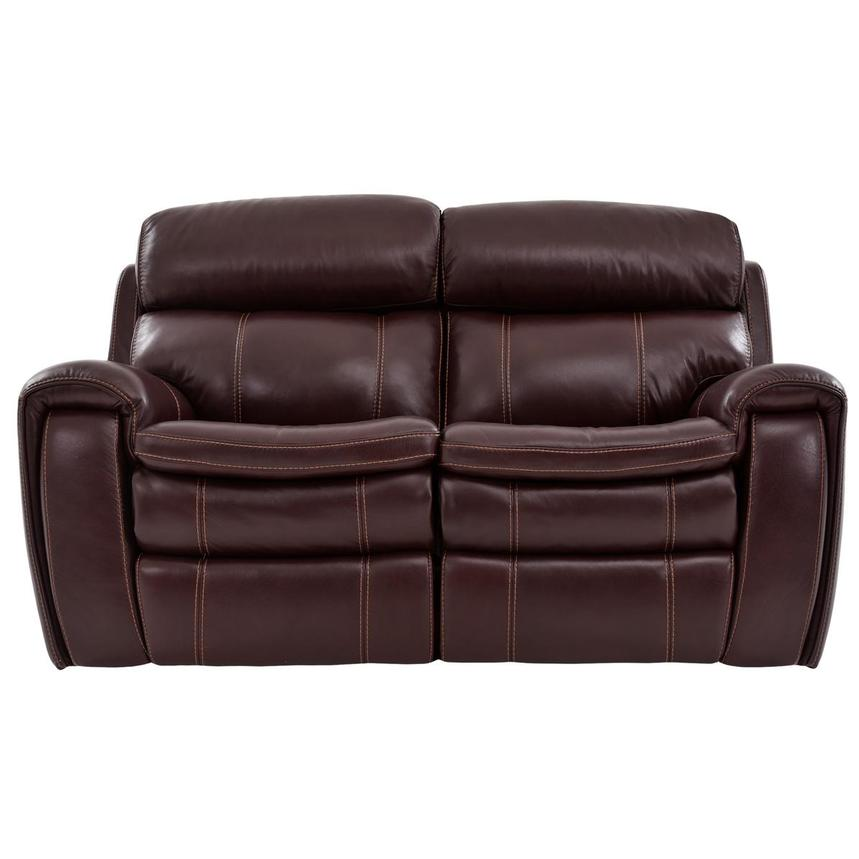 Napa Burgundy Leather Power Reclining Loveseat  main image, 1 of 7 images.