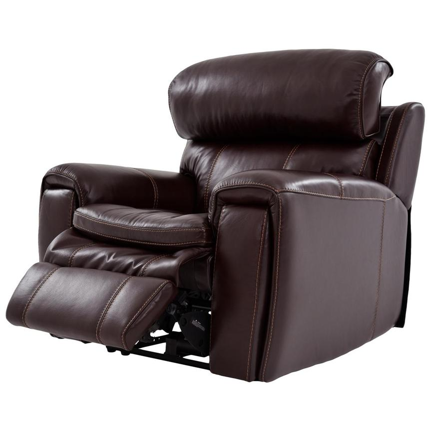 Napa Burgundy Leather Power Recliner  alternate image, 3 of 8 images.