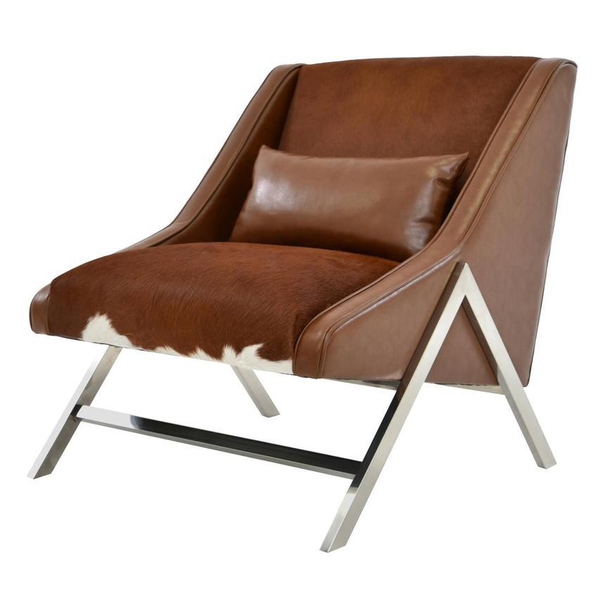 Krava Brown Leather Accent Chair W Ottoman El Dorado
