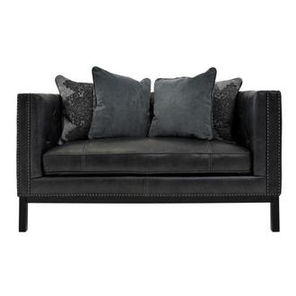 Sophia Gray Leather Loveseat