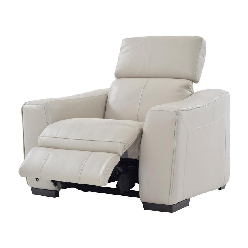 Jay Cream Power Motion Leather Recliner  alternate image, 3 of 7 images.