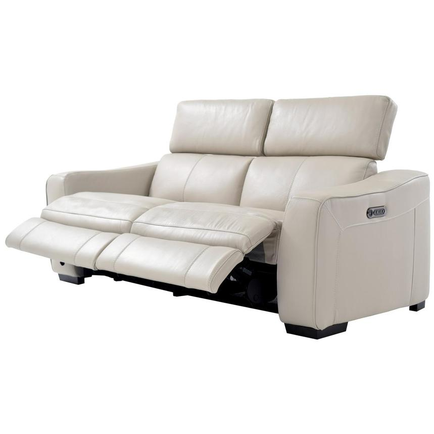 Jay Cream Leather Power Reclining Sofa  alternate image, 3 of 6 images.