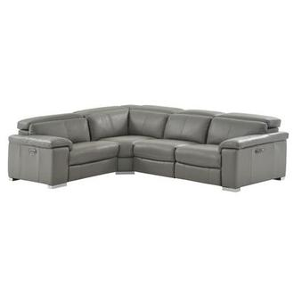 Charlie Gray Leather Power Reclining Sectional