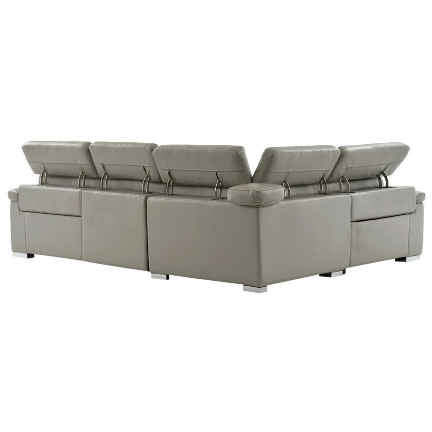 Charlie Light Gray Leather Power Reclining Sectional  alternate image, 3 of 10 images.