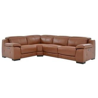 Gian Marco Tan Power Motion Leather Sofa w/Right & Left Recliners