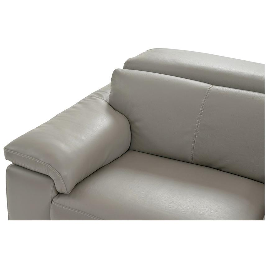 Charlie Light Gray Leather Power Reclining Sectional  alternate image, 4 of 10 images.
