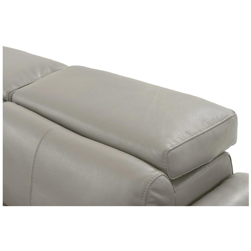 Charlie Light Gray Leather Power Reclining Sectional  alternate image, 7 of 11 images.