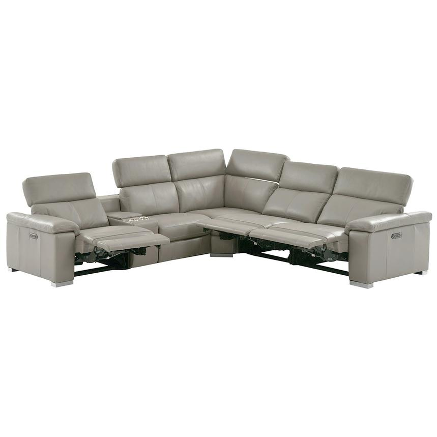 Charlie Light Gray Leather Power Reclining Sectional  alternate image, 2 of 11 images.