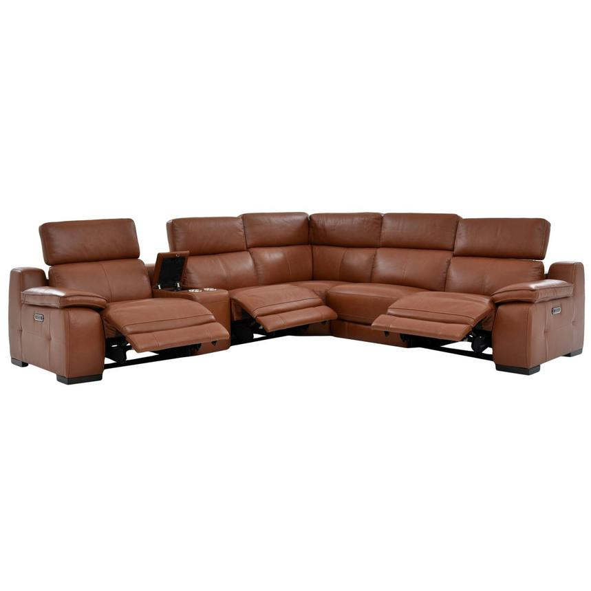 Gian Marco Tan Leather Power Reclining Sectional  alternate image, 3 of 9 images.