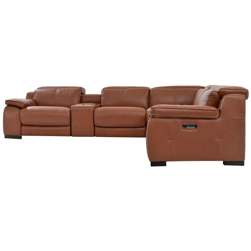 Gian Marco Tan Power Motion Leather Sofa w/Right & Left Recliners  alternate image, 3 of 7 images.