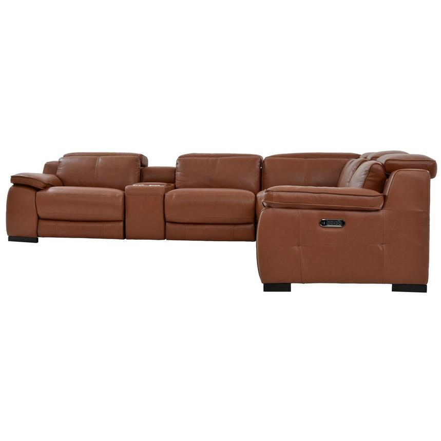 Gian Marco Tan Leather Power Reclining Sectional  alternate image, 4 of 10 images.
