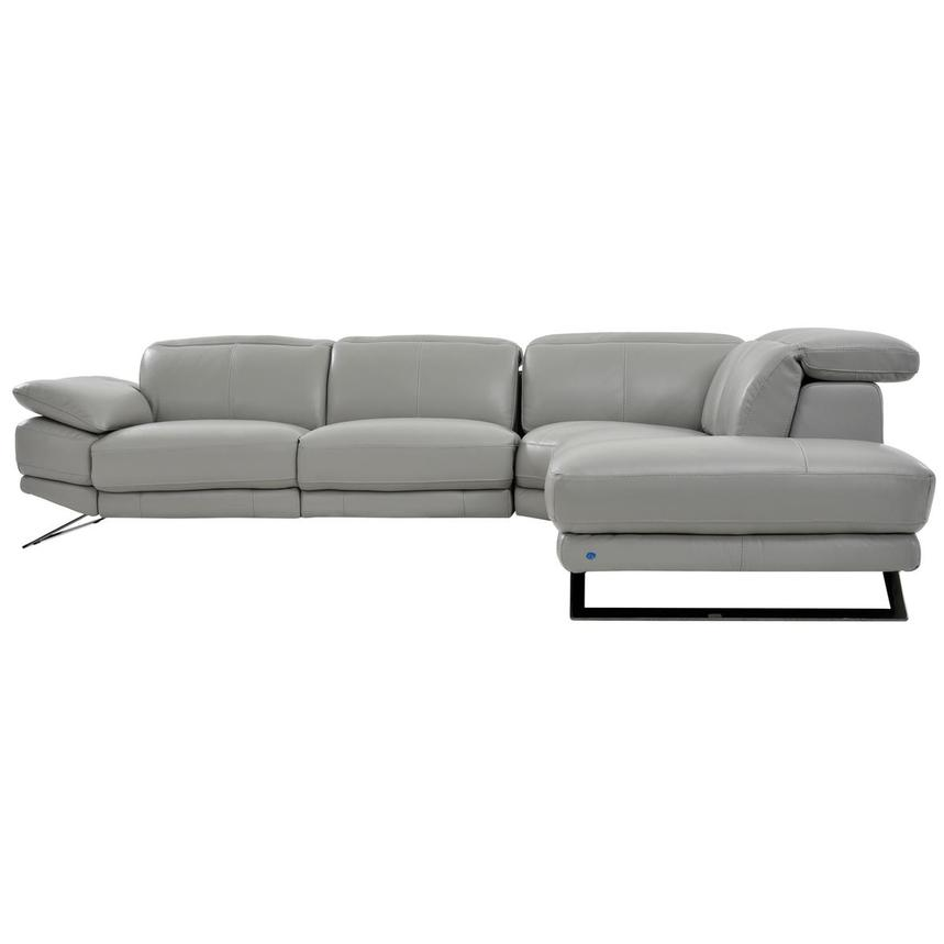 Toronto Light Gray Power Motion Leather Sofa w/Right Chaise  alternate image, 3 of 7 images.