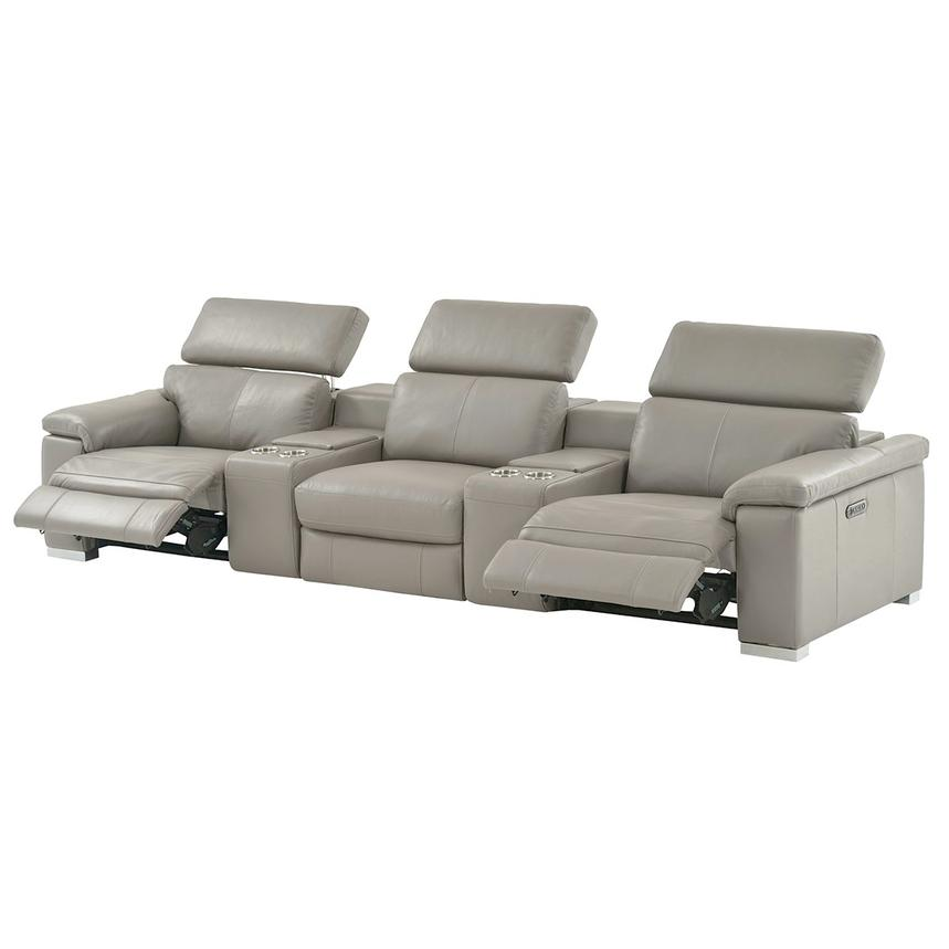 Charlie Light Gray Home Theater Leather Seating  alternate image, 3 of 10 images.