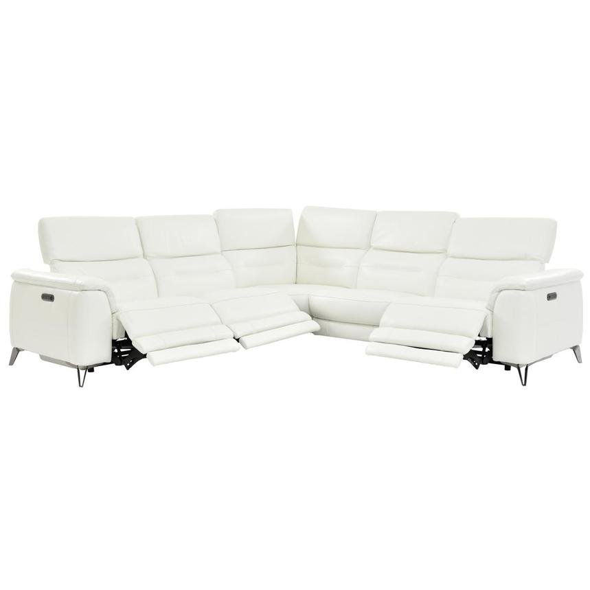 Anabel White Leather Power Reclining Sectional  alternate image, 2 of 9 images.