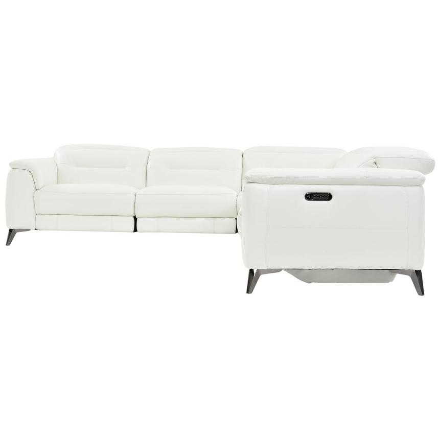Anabel White Leather Power Reclining Sectional  alternate image, 3 of 7 images.