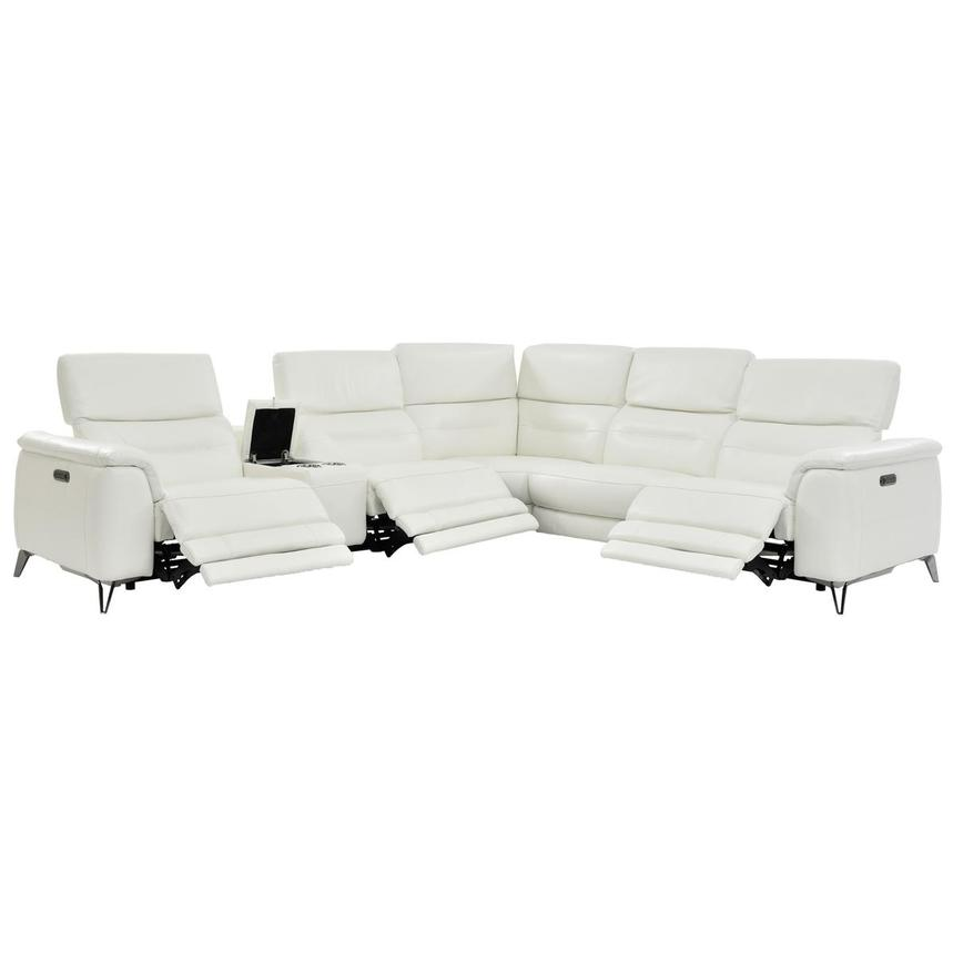 Anabel White Leather Power Reclining Sectional  alternate image, 2 of 10 images.