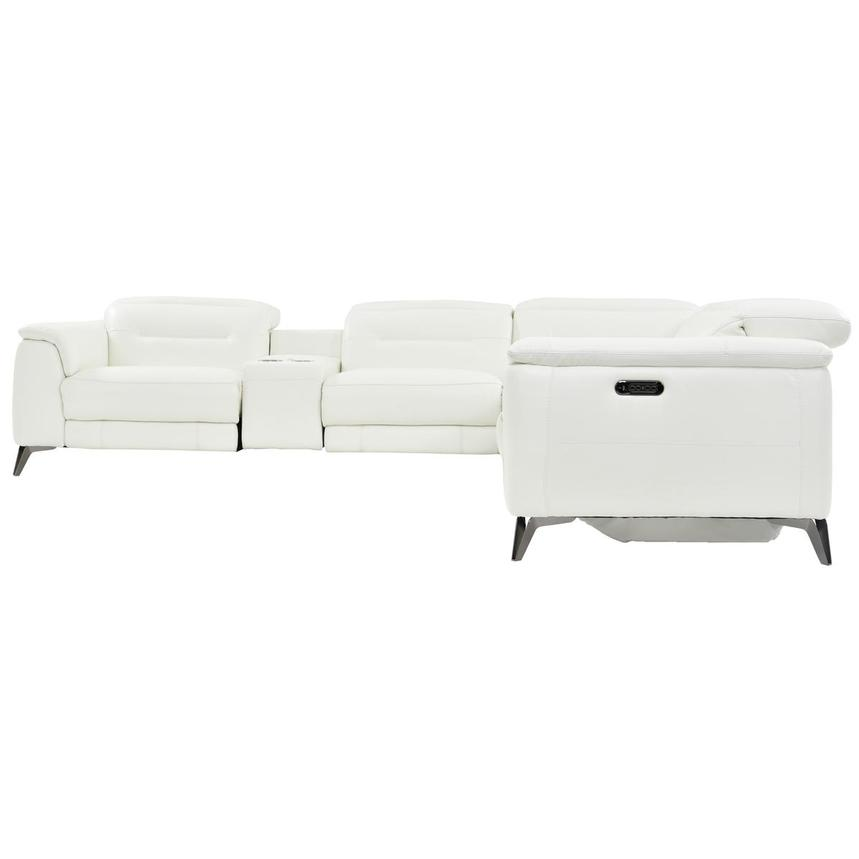 Anabel White Leather Power Reclining Sectional  alternate image, 3 of 8 images.