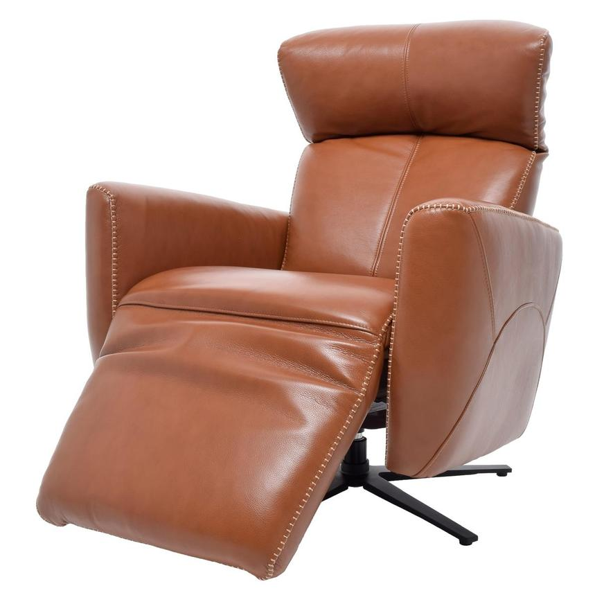 Jon Cognac Power Motion Leather Recliner  alternate image, 3 of 7 images.