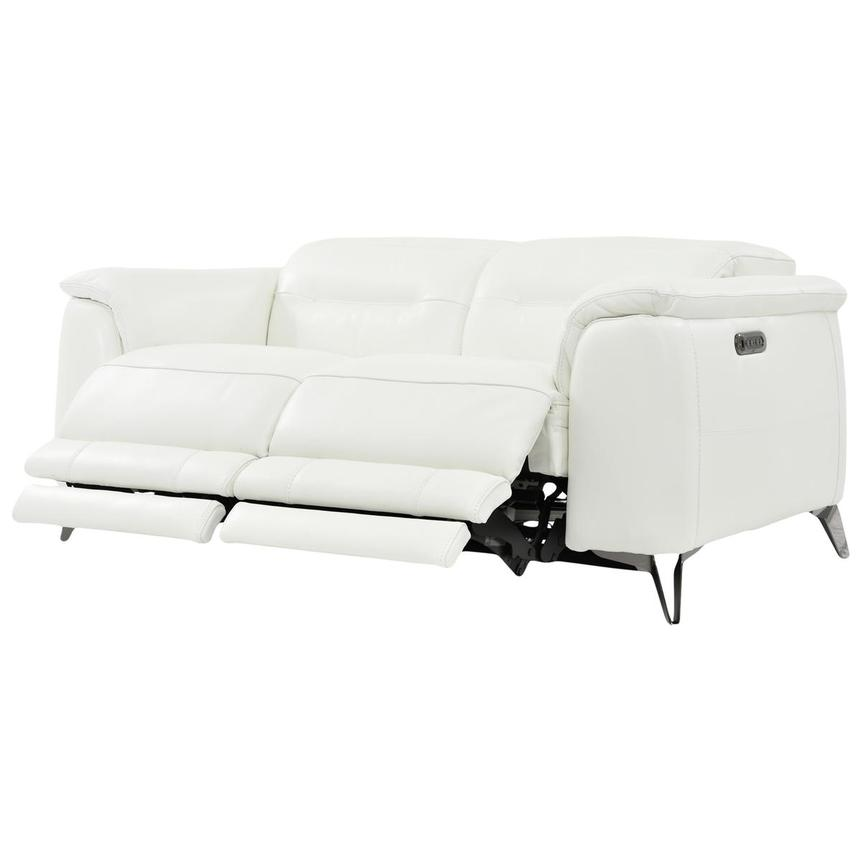 Anabel White Power Motion Leather Sofa  alternate image, 3 of 8 images.