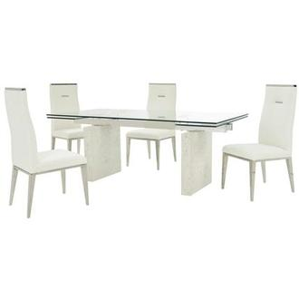 Industria/Hyde White 5-Piece Formal Dining Set