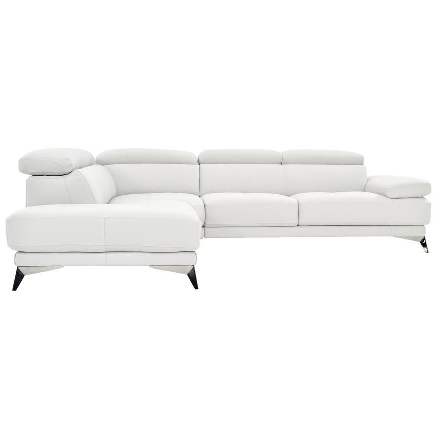 Winner White Leather Corner Sofa w/Left Chaise