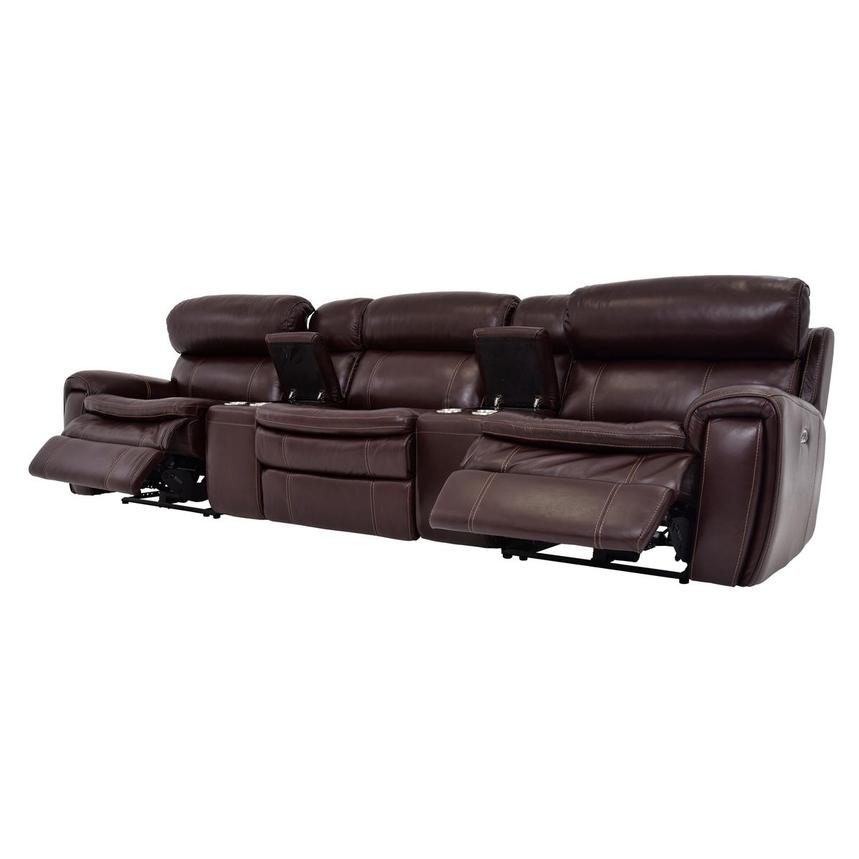 Napa Burgundy Home Theater Leather Seating  alternate image, 3 of 8 images.