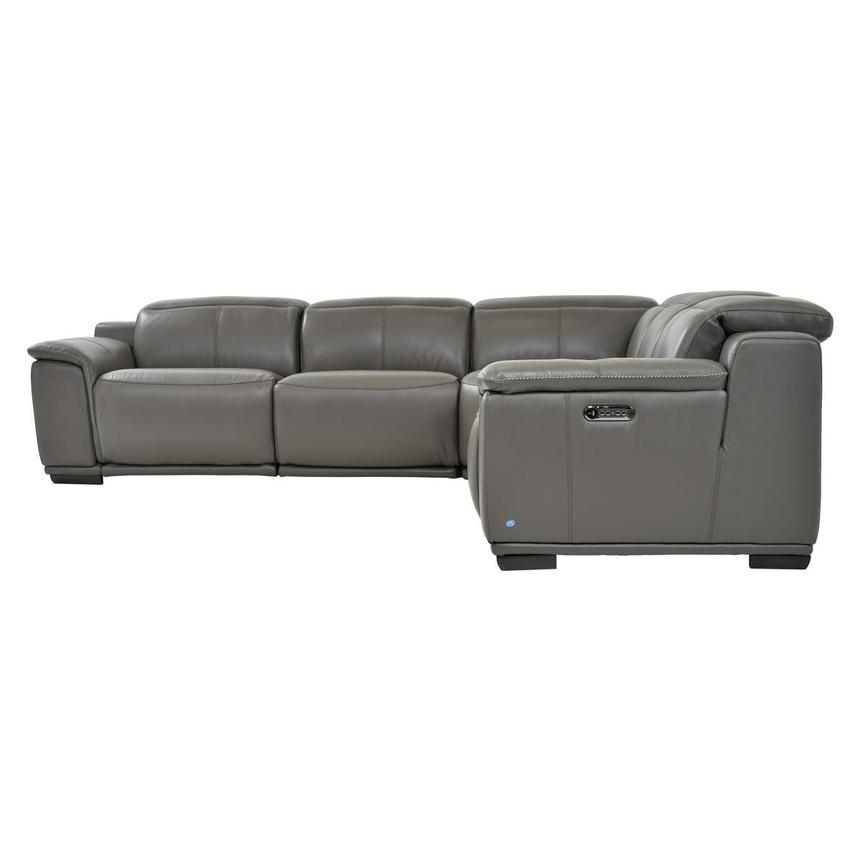 Davis 2.0 Dark Gray Leather Power Reclining Sectional  alternate image, 4 of 8 images.
