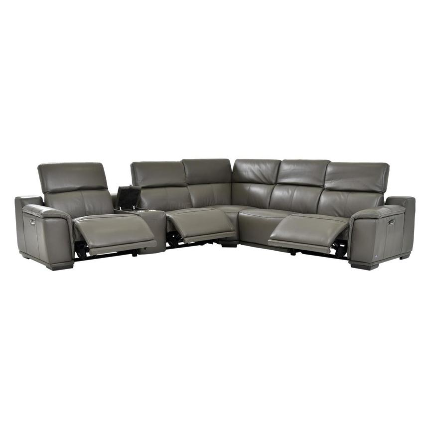 Davis 2.0 Dark Gray Leather Power Reclining Sectional  alternate image, 3 of 9 images.