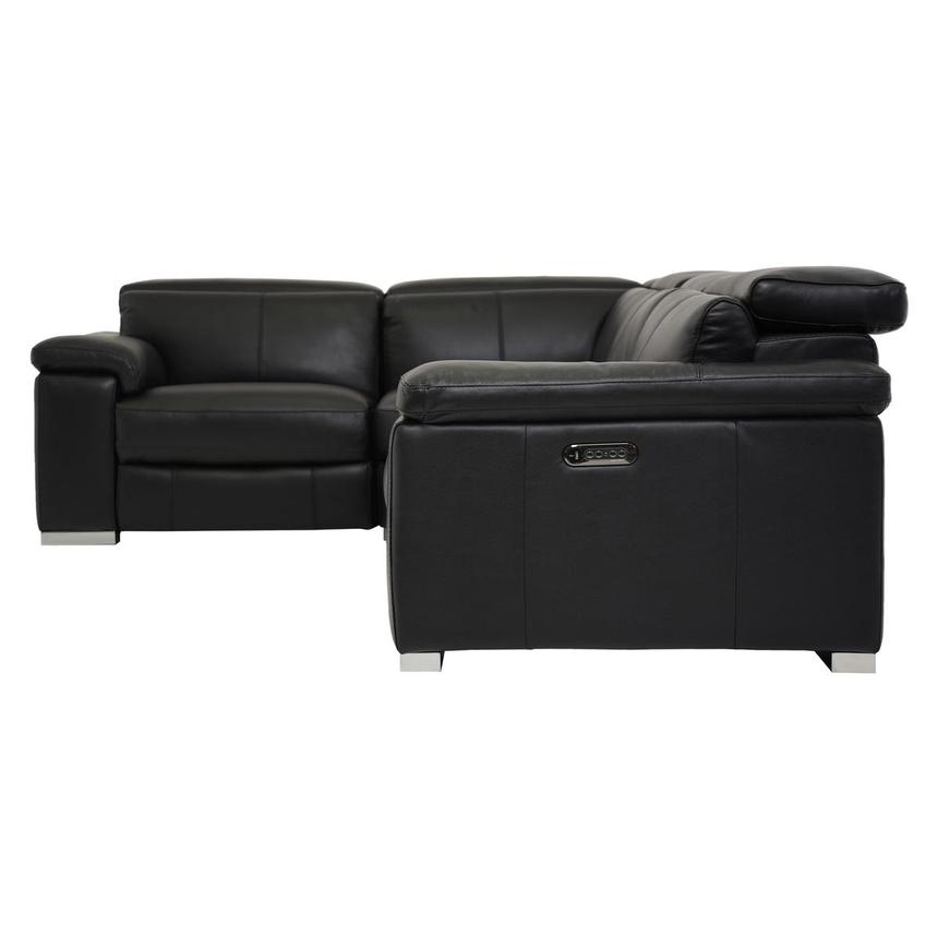 Charlie Black Leather Power Reclining Sectional  alternate image, 3 of 7 images.