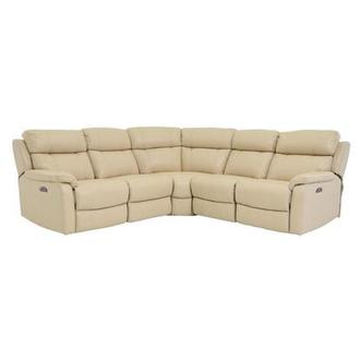 Ronald Cream Power Motion Leather Sofa w/Right & Left Recliners
