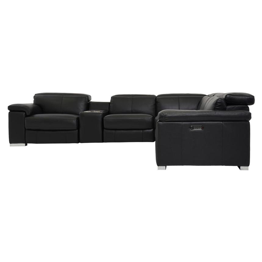 Charlie Black Power Motion Leather Sofa w/Right & Left Recliners  alternate image, 3 of 8 images.