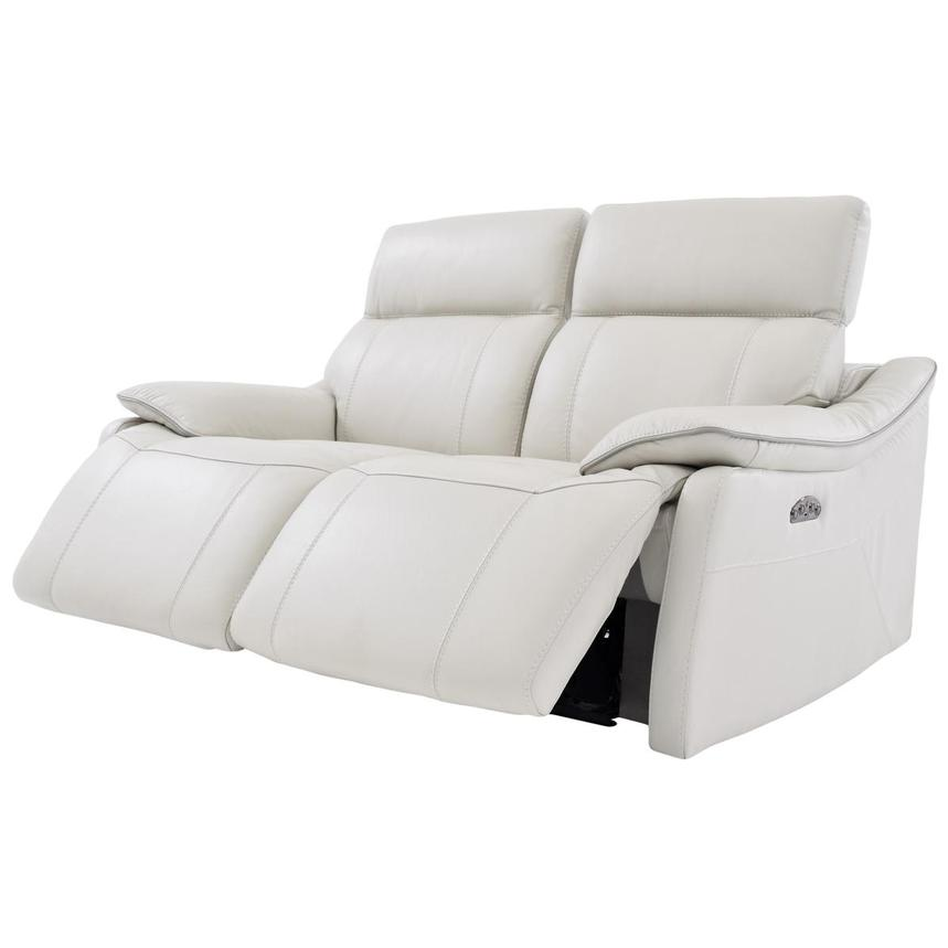 Austin White Leather Power Reclining Loveseat  alternate image, 3 of 6 images.