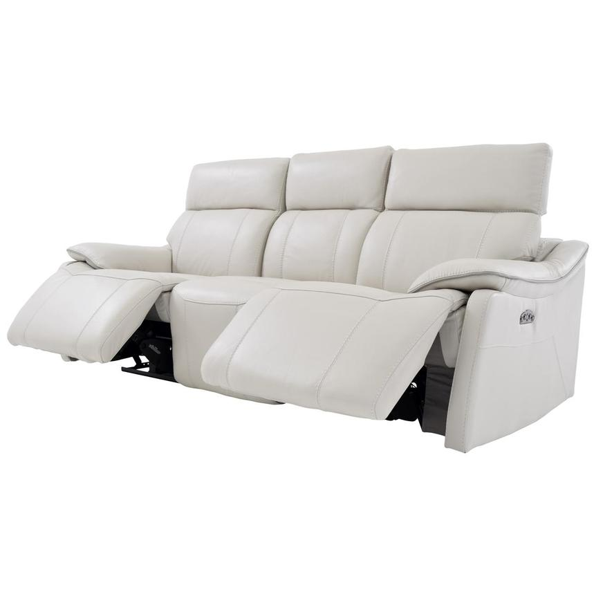 Austin White Leather Power Reclining Sofa