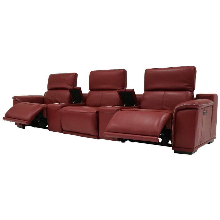 Davis 2.0 Red Home Theater Leather Seating  alternate image, 3 of 8 images.