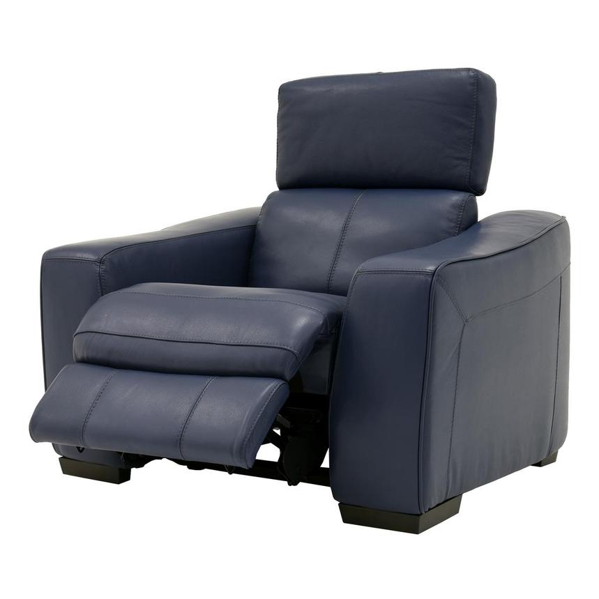 Jay Blue Leather Power Recliner  alternate image, 3 of 8 images.