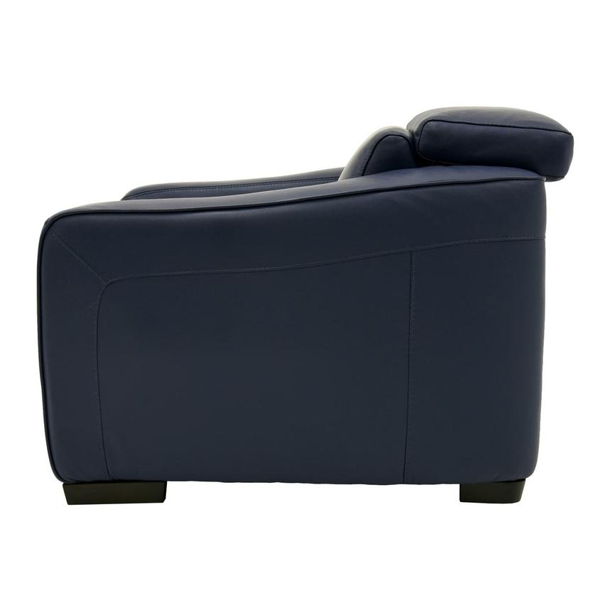 Jay Blue Leather Power Recliner  alternate image, 4 of 9 images.